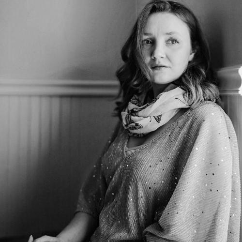 Black and white square image of Nadia Seaver